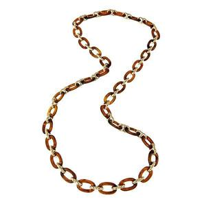 Tortoise Shell Resin Link Necklace