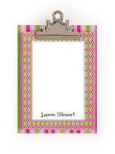 Pink & Lime Preppy Argyle & Stripe clipboard with paper