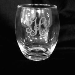 Monogrammed Acrylic Stemless Wine Glass