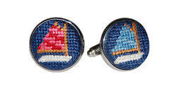 Smathers and Branson Needlepoint Rainbow Fleet (Navy) Cufflinks