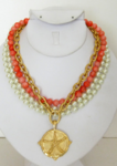 Coral & Pearl Handcast Gold Sand Dollar Pendant Necklace