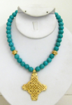 Turquoise Handcast Gold Cross Necklace