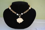 Handcast Gold Bee Intaglio Necklace w/ Pearl Accents