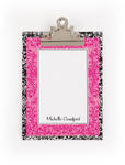 Black & White Filigree Clipboard with personalized paper