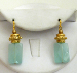 Handcast Gold & Semi-Precious Aqua Quartz Earrings