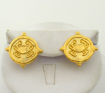 Handcast Gold Crab Pierced Earrings