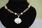 Handcast Gold & Silver Bee Intaglio Necklace w/ Pearl Accents